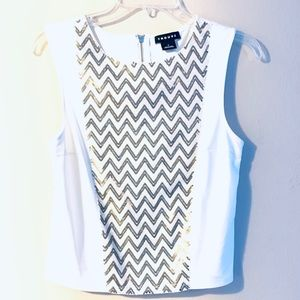Nordstrom Trouve Chevron Sequence Sleeve Blouse